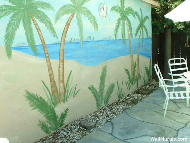 Beach Mural Painted on Garage