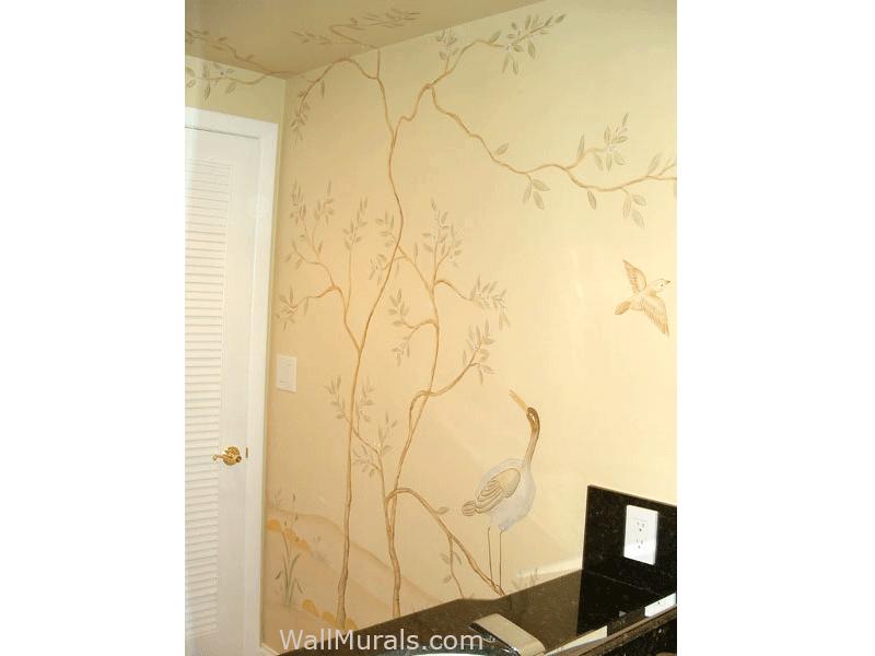 Japanese Mural in Powder Room