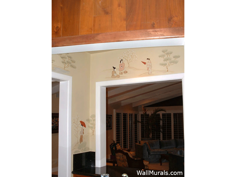 Japanese Mural in Bar Area of Home