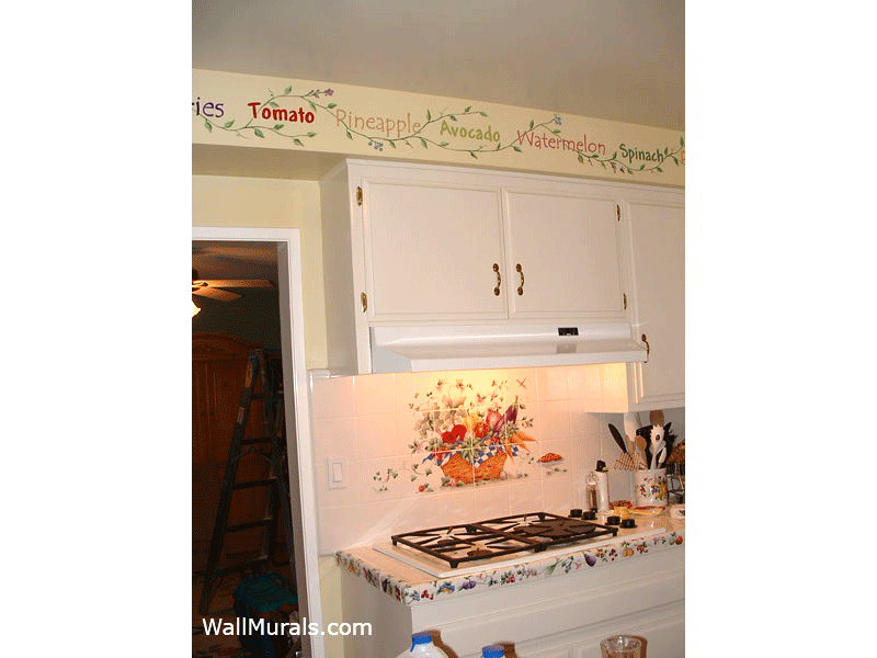 Painted Kitchen Border with Words and Vines