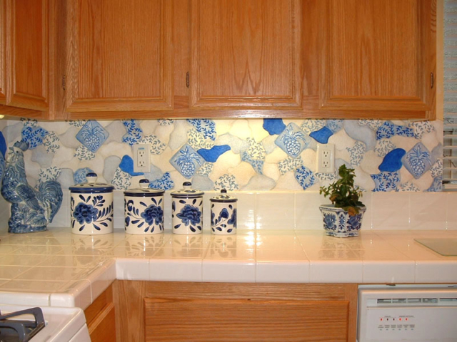 Painted Mosaic Backsplash