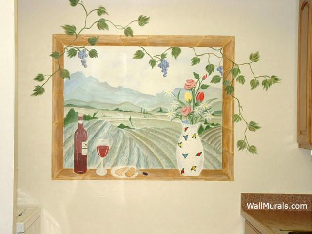 Painted Window Mural with Vineyard