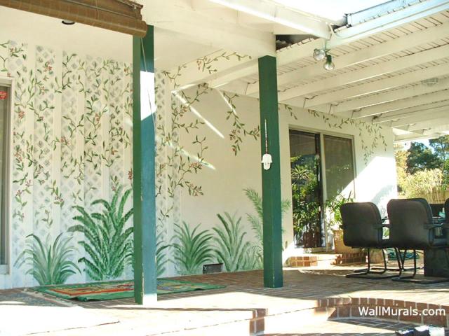Lattice Mural Painted Poolside
