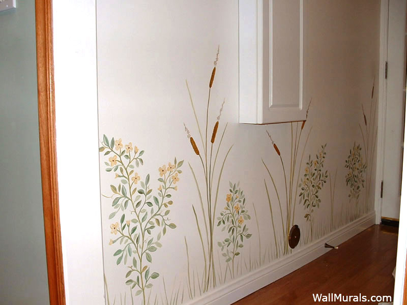 Painted Cat Tails and Flowers Mural in Laundry Room