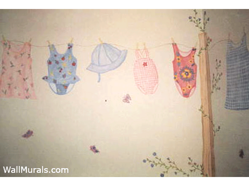Clothes Line Wall Mural in Laundry Room