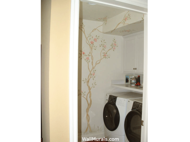 Laundry Room Mural with Rose Tree