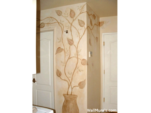 Laundry Room Mural with painted Potted Plant