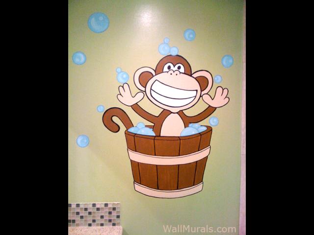 Monkey Wall Mural in Bathroom