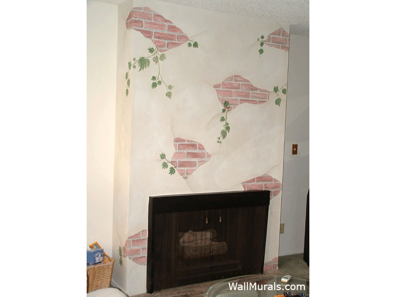 Painted Bricks above Fireplace Mural