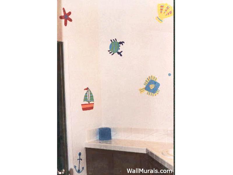 Hand-Painted Wallpaper Mural in Bathroom