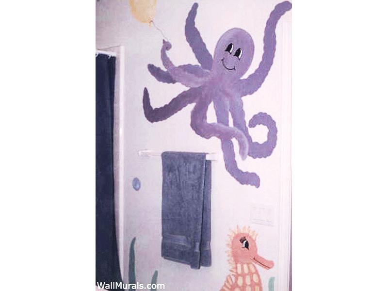 Octopus Holding Balloon - Mural in Bathroom