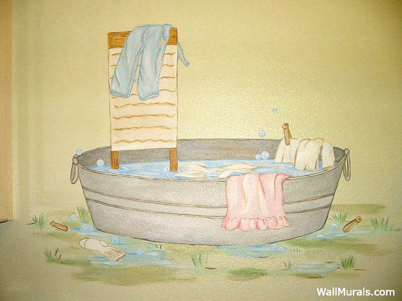 Old Fashioned Wash Tub Wall Mural