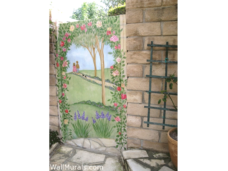 Exterior Mural Painted on Garden Gate