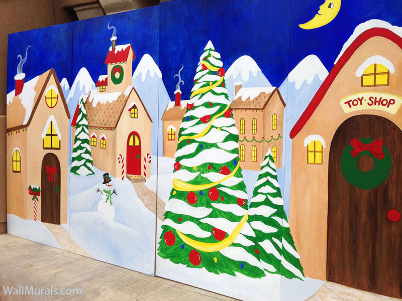 Painted Holiday Backdrop for Exterior Christmas Display