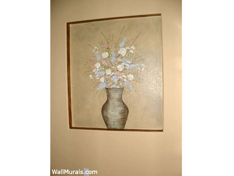 Painted Vase with Flowers in Hallway Recess