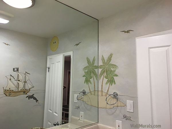 Pirate Wall Mural in Bathroom
