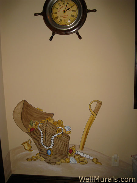 Pirate Wall Mural - Treasure Chest and Sword