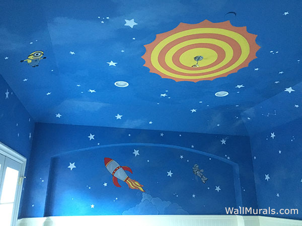 Space wall murals examples custom outer space wall for Astronaut wall mural