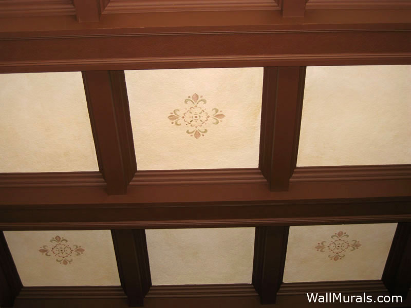 Stencil on Ceiling in Spanish Style Home