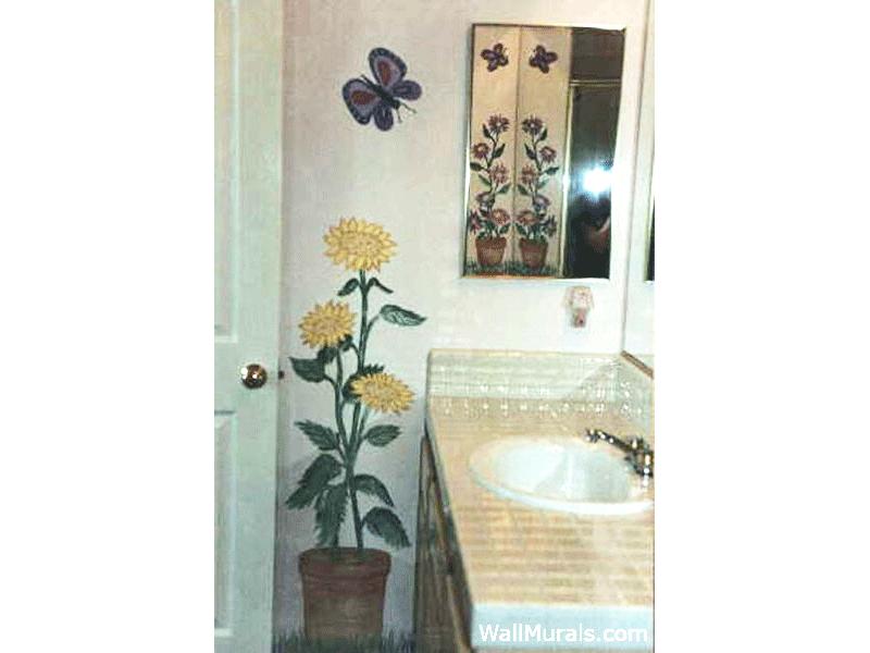 Sunflower Mural in Bathroom