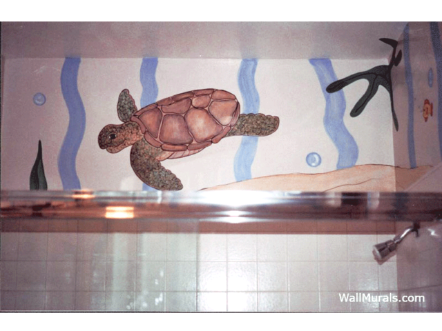 Sea Turtle Mural in Bathroom