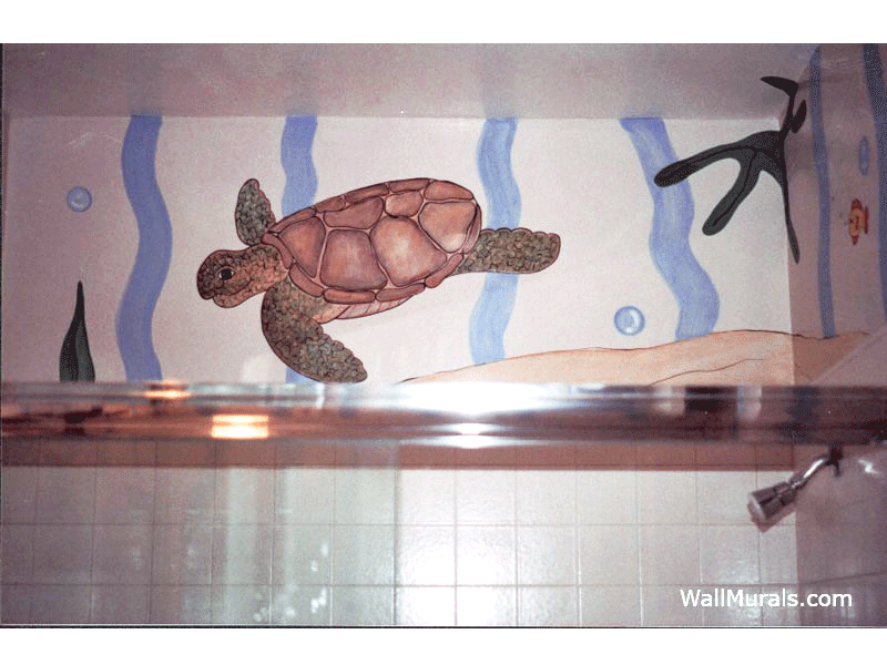 Sea Turtle Mural in Bathroom