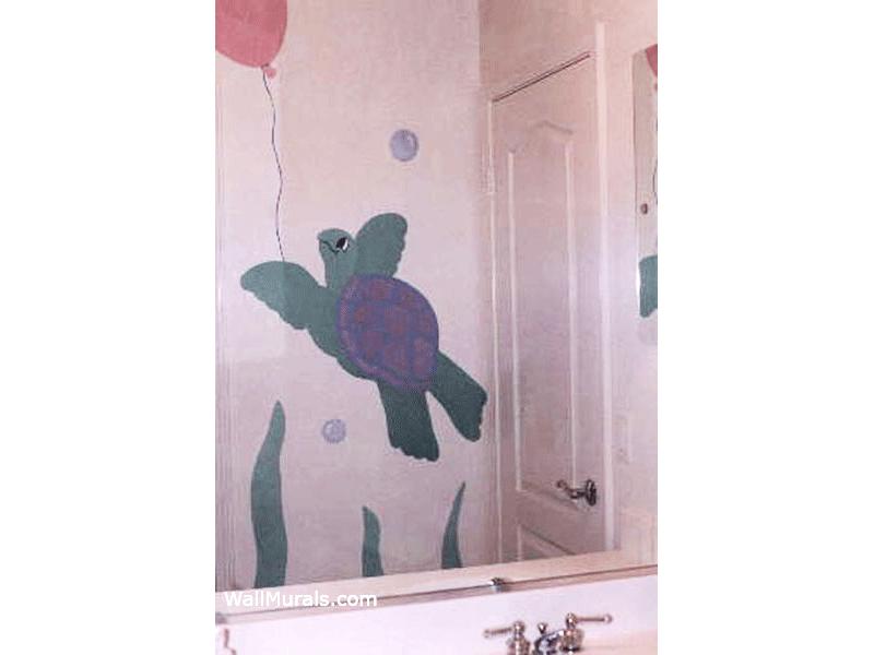 Sea Turtle Holding Balloon Mural in Bathroom
