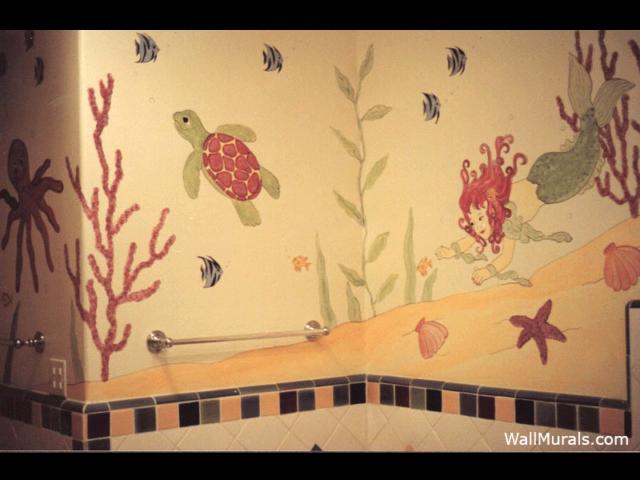 Mermaid and Sea Turtle Mural in Bathroom