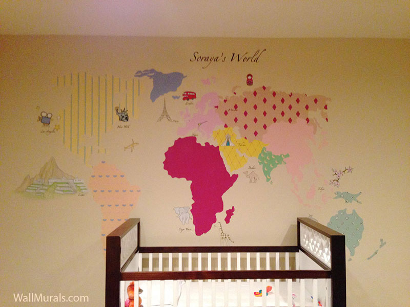 World Map Mural In Baby Nursery