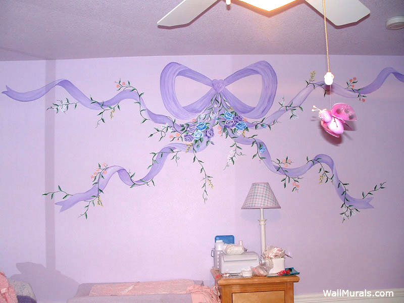 Painted Ribbon Wall Mural in Baby Room