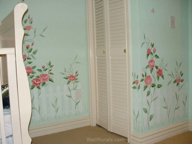 Picket Fence and Flowers Wall Mural in Nursery
