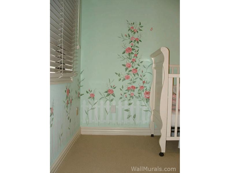 Picket Fence Wall Mural in Nursery