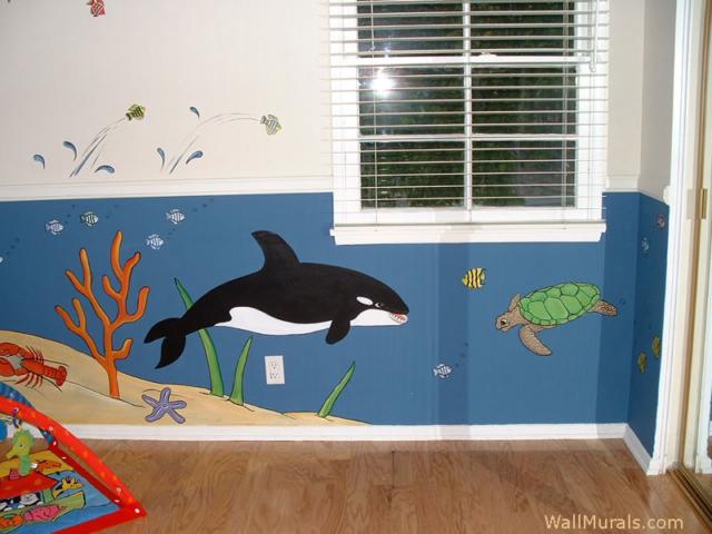 Killer Whale Wall Mural in Nursery
