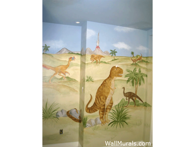 Dinosaur Mural in Boys Room
