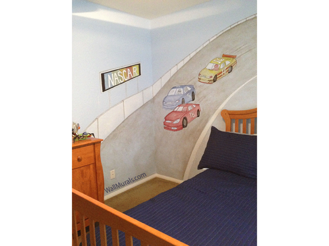 Nascar Mural in Boys Room
