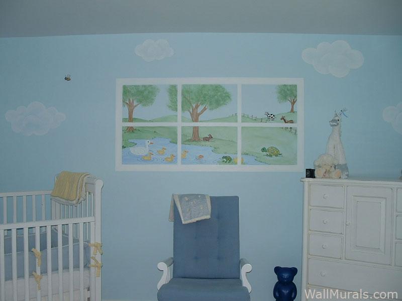 Painted Window Mural in Baby Room