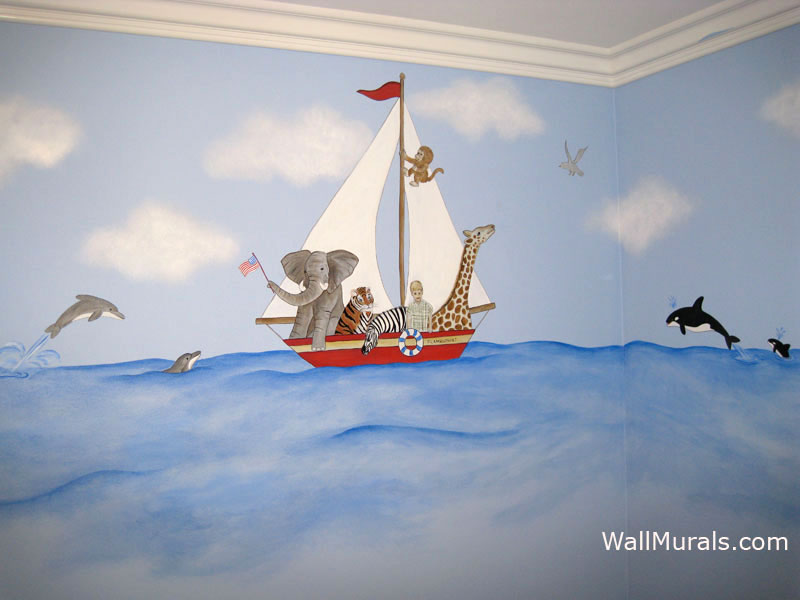 Sailboat Wall Mural in Boys Bedroom