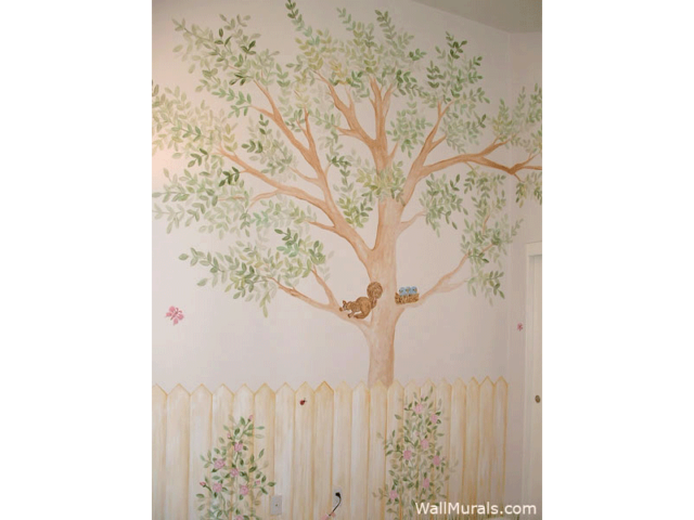 Weathered Fence and Tree Mural in Baby Room