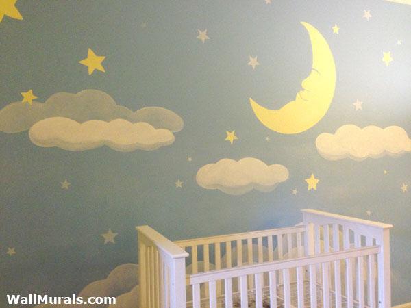 Moon and Stars Baby Nursery Mural