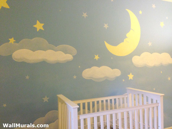 Moon And Stars Baby Nursery Mural