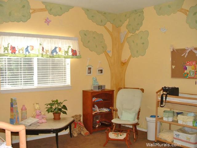 Hand-painted Tree Wall Mural in Nursery