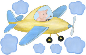 When Pigs Fly - Yellow Airplane - Decal Sheet