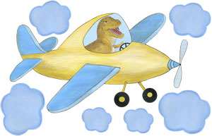 Racy Rex - Yellow Airplane - Wall Decal