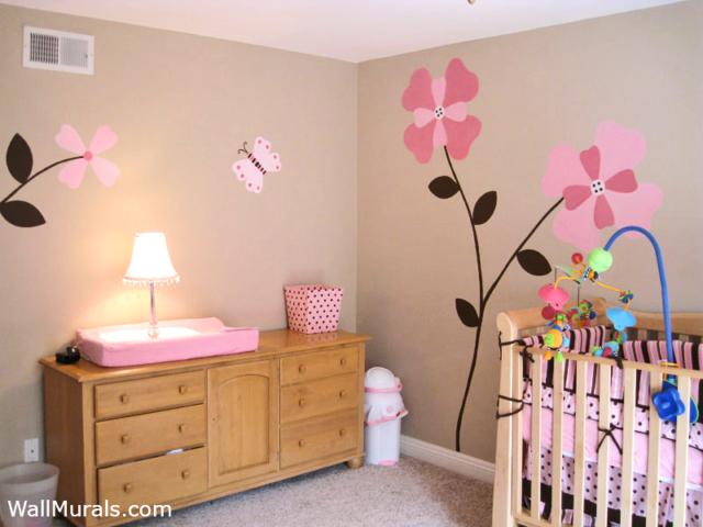 Pink Flower Wall Mural in Baby Nursery