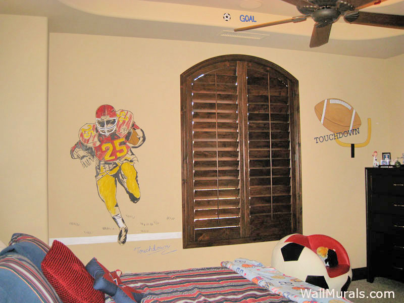 Football Wall Mural   Boys Bedroom