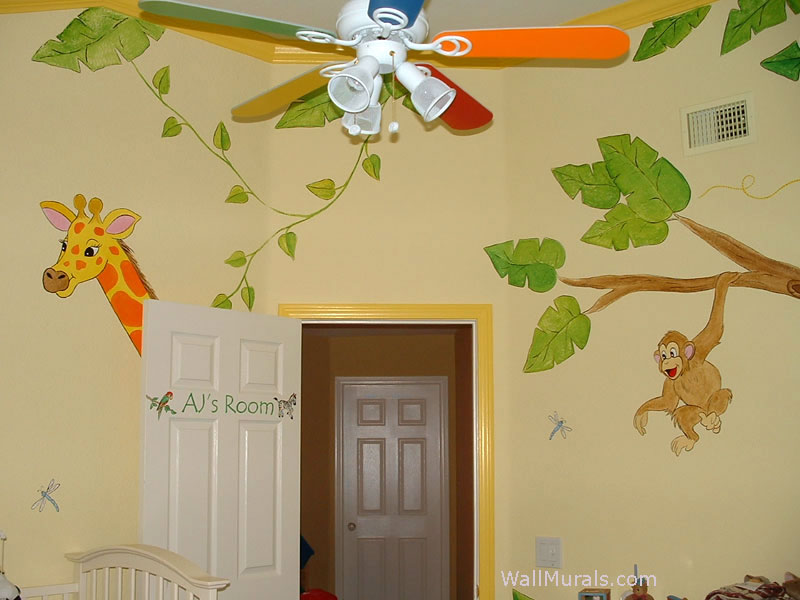 Jungle Wall Mural in Baby Room