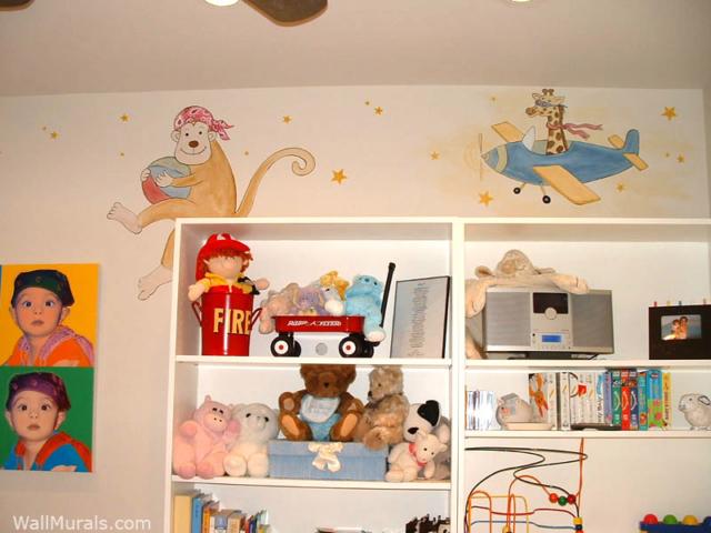 Monkey and Airplane Mural in Nursery