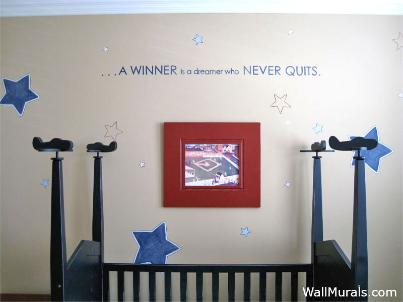 Painted Stars And Quote On Nursery Walls. Vintage Airplane Mural Painted In Baby  Room Part 36