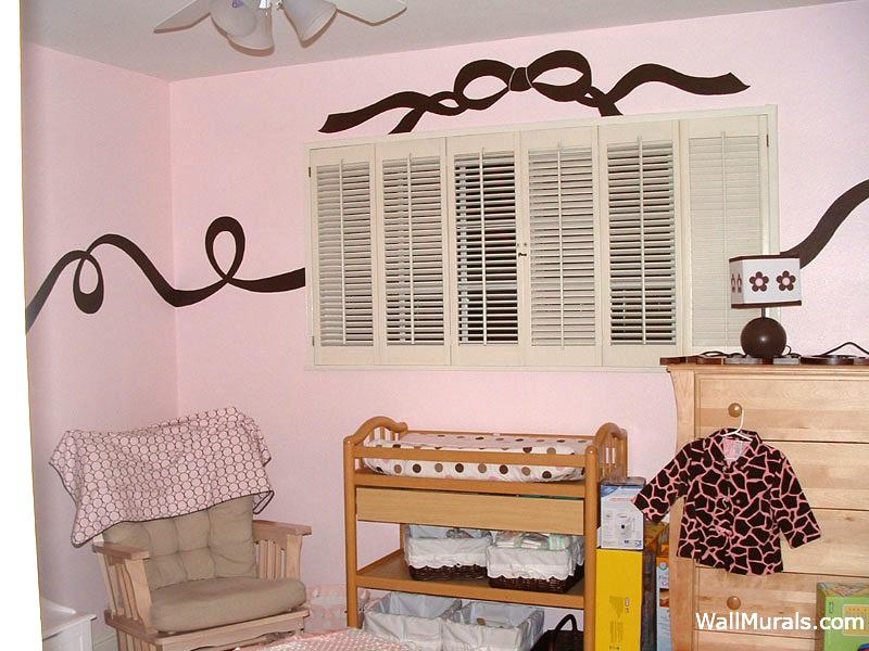 Brown Ribbon Wall Mural in Baby Room