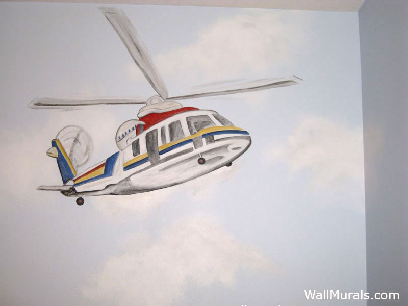Rescue Helicopter Wall Mural in Boys Bedroom